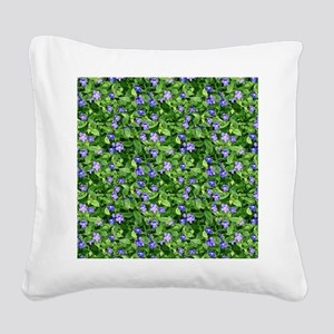 Periwinkle Blooms Square Canvas Pillow